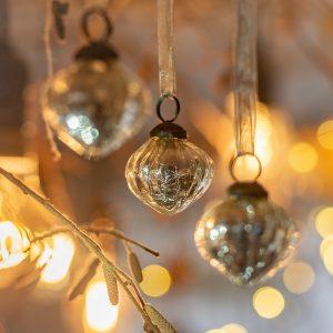 Set of 6 small metallic silver 1″ glass lanterns