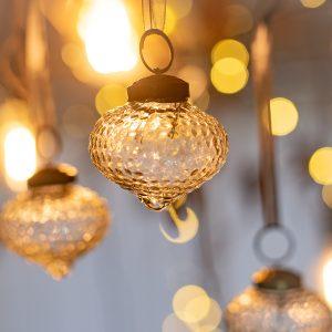 2″ Medium Clear Crackle Glass hedgehog lantern Christmas Bauble