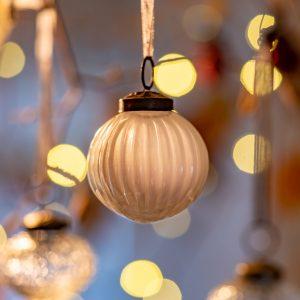 2″ Medium White Ribbed Glass Christmas Bauble