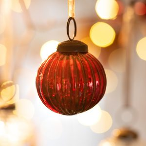 2″ Medium Red Ribbed Glass Christmas Bauble