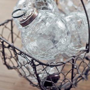 2″ Clear crackle medium glass plain ball