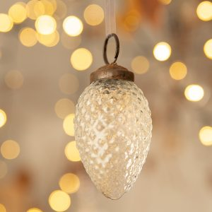 2″ clear Textured glass Pine Cone