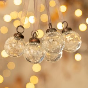 Set of 6 Small Clear 1″ Crackle Glass Balls
