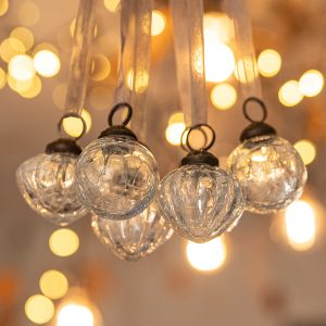 Mix Set of 6 Small Clear 1″ Crackle Glass Balls & Lanterns