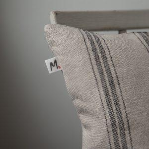 Stripy linen cushion cover 45x45cm