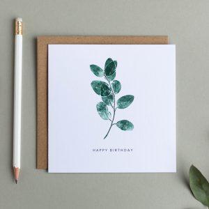 Happy Birthday Greeting Card – Eucalyptus
